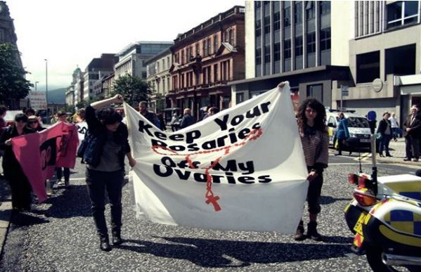 Counter demo for Rally for Life, Belfast 2012.