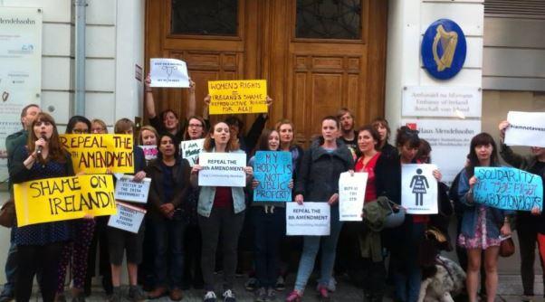 Berlin-Irish Solidarity protest outside the Irish Embassy, Berlin August 2014.